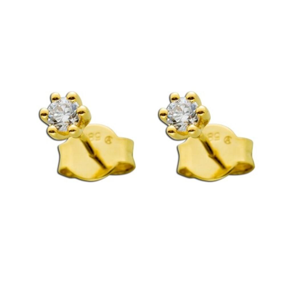 Diamant Ohrringe Gold 585 Brillant Ohrstecker 0,20ct W/SI Ohrschmuck Solitärohrringe Krappenfassung_02
