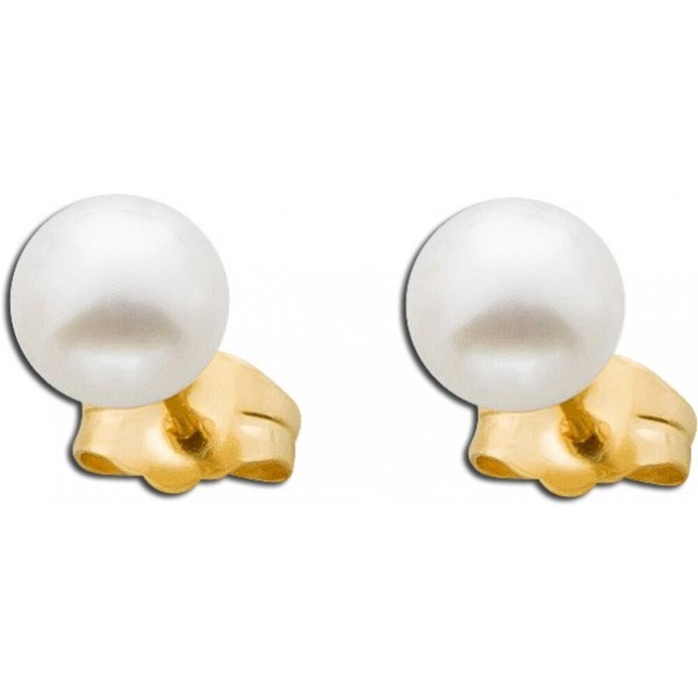 Ohrringe weiß Süßwasserzuchtperle Gelb Gold 375_01
