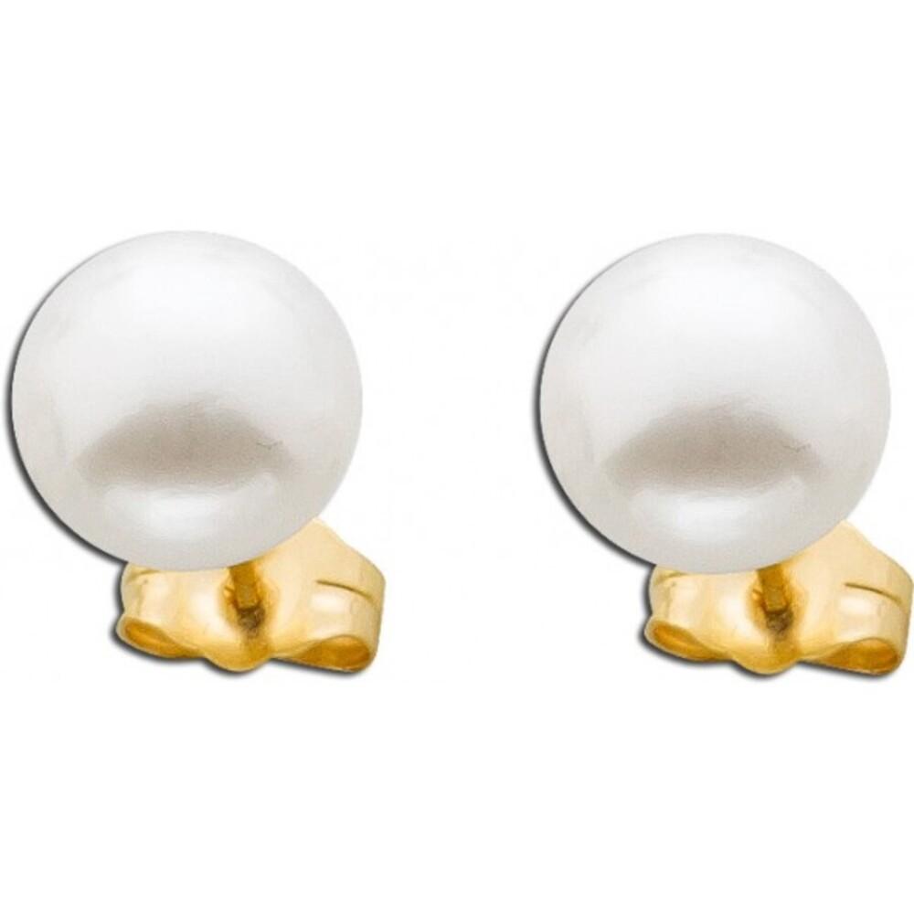 Perlenohrstecker weiß-cremefarben Gelb Gold 375 Süßwasserzuchtperle_01