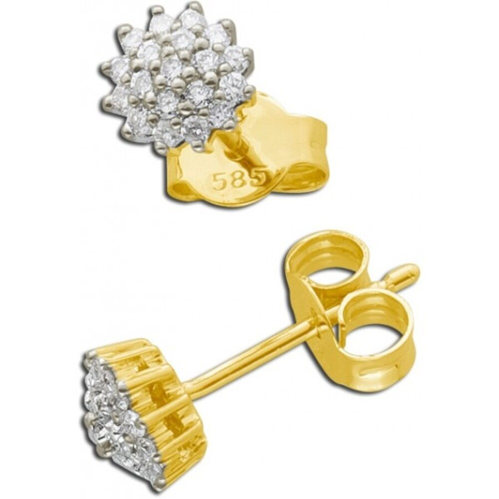 Brillant Ohrstecker Gelb Gold 585 14 Karat Brillant 0,26ct W/SI Diamant Ohrschmuck_01