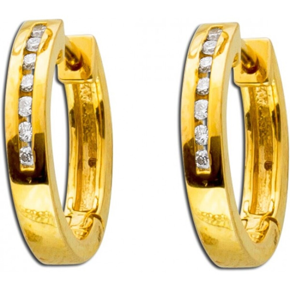 Ohrringe - Creolen Gold 585 Brillanten 0,10ct W/SI Diamant Ohrschmuck _1
