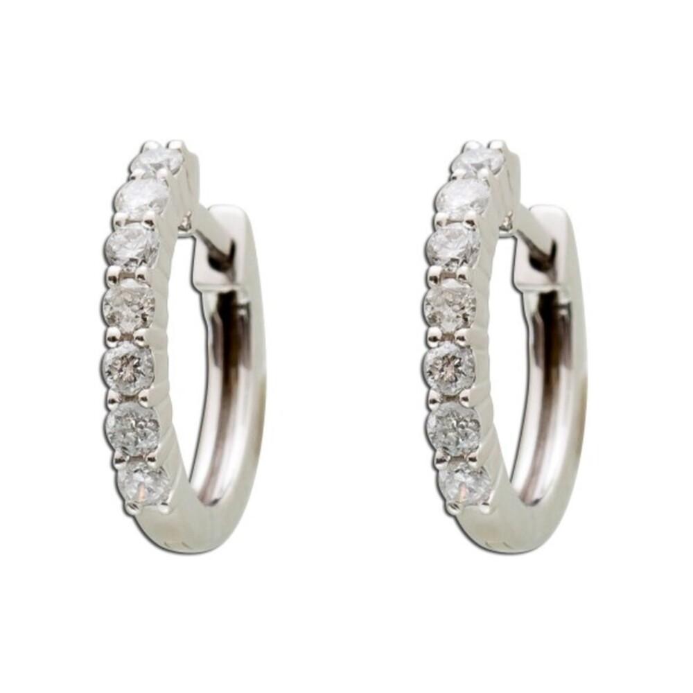 gut zu verkaufen Ausverkauf Diamant Creolen Weissgold 585 Brillant 0,42ct W/SI2