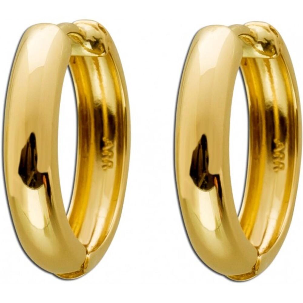 Gold Ohrringe Creolen Gelbgold 333 poliert  halb massiv Damen