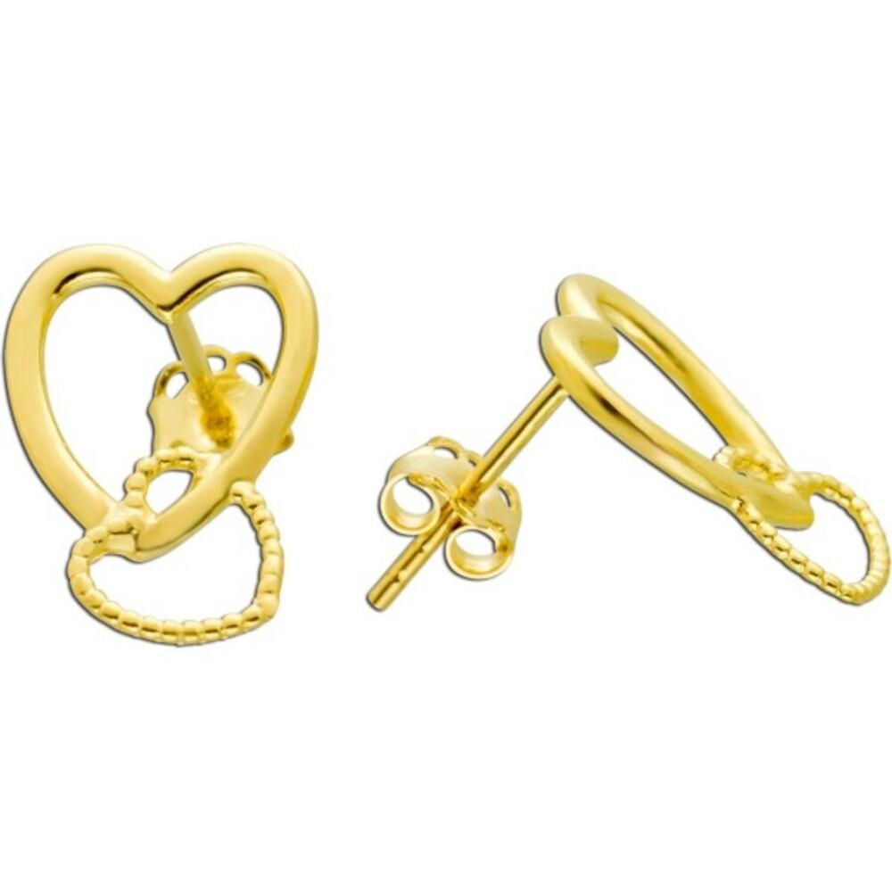 UNO A ERRE Goldohrstecker verschlungenen Herzen Gelbgold 375 Damenschmuck  1