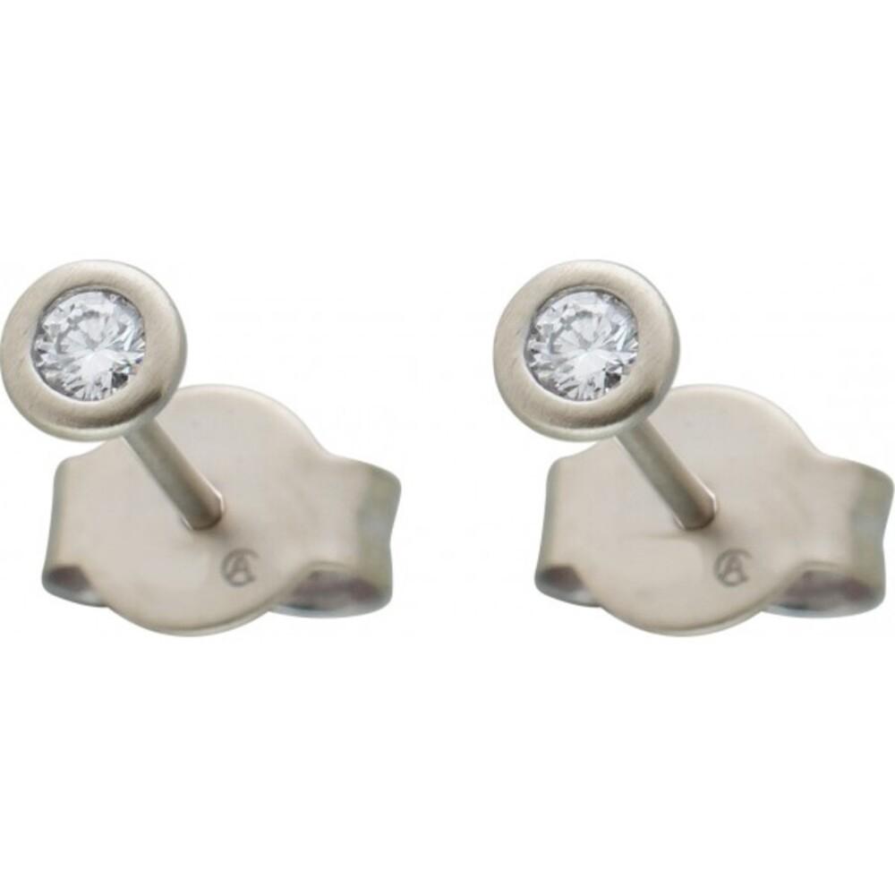 Diamant Ohrringe Brillant Ohrstecker Platin 950 Solitaerstecker 0,20 Carat W / SI  Zargenfassung