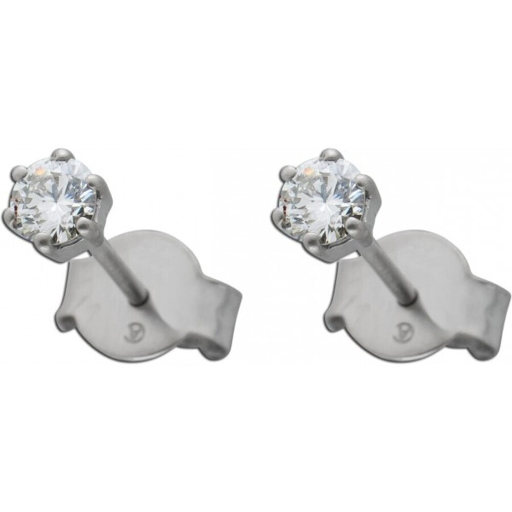 Diamant Ohrringe Brillant Ohrstecker Platin 950 Solitaerstecker 0,25 Carat W /SI  Krappenfassung
