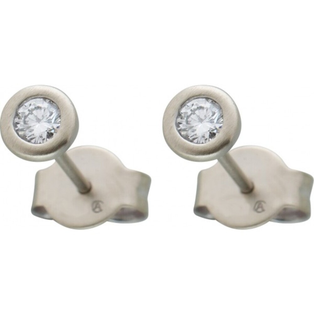 Diamant Ohrringe Brillant Ohrstecker Platin 950 Solitaerstecker 0,25 Carat W / SI Zargenfassung