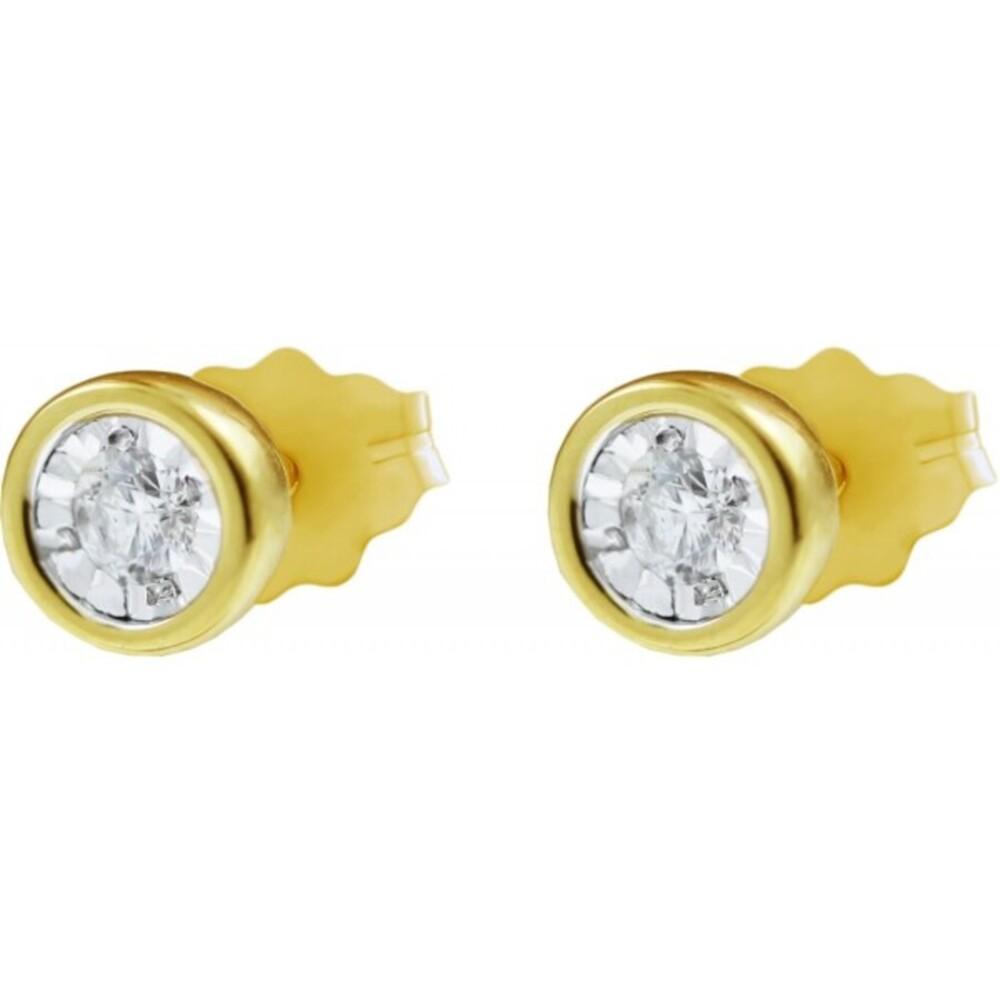 Ohrstecker Ohrringe Gelbgold Weissgold 375 9 Krarat  Diamant Brillant 0,10 ct W/I1
