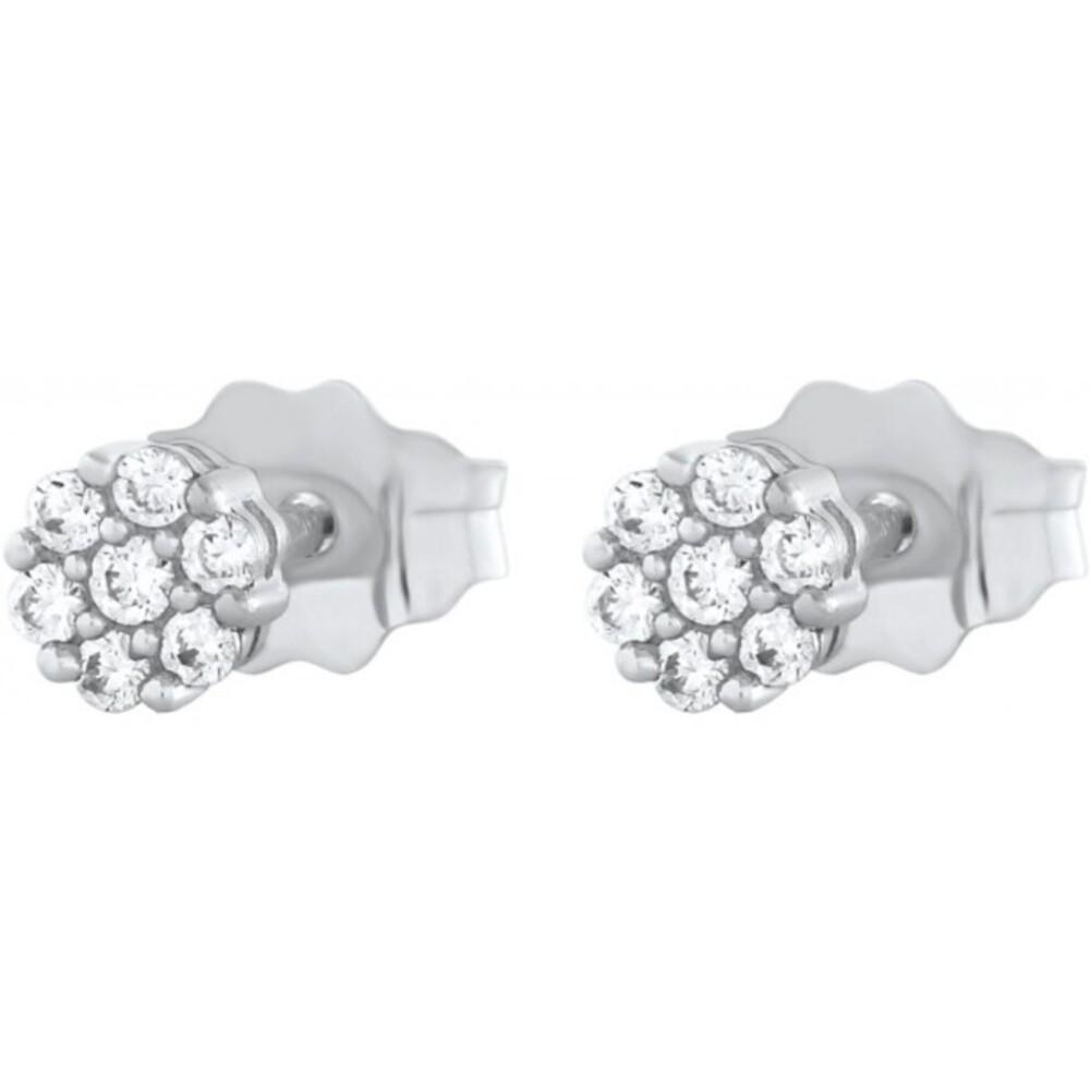 Blumen Ohrstecker Ohrringe Weissgold 375 Diamanten Brillanten 0,14ct W/I1 Krappen gefasst