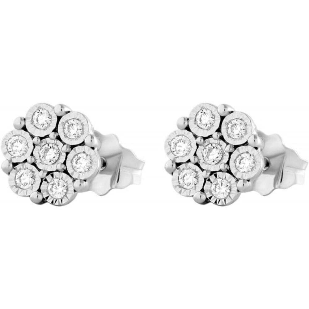 Blumen Ohrstecker Ohrringe Weissgold 375 Diamanten Brillanten 0,14ct W/I1 Zargen gefasst