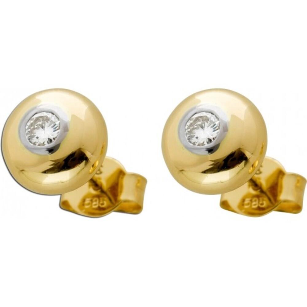 Solitär Diamant Ohrringe Ohrstecker Gelb Weissgold 585 0,10ct M/SI 8mm