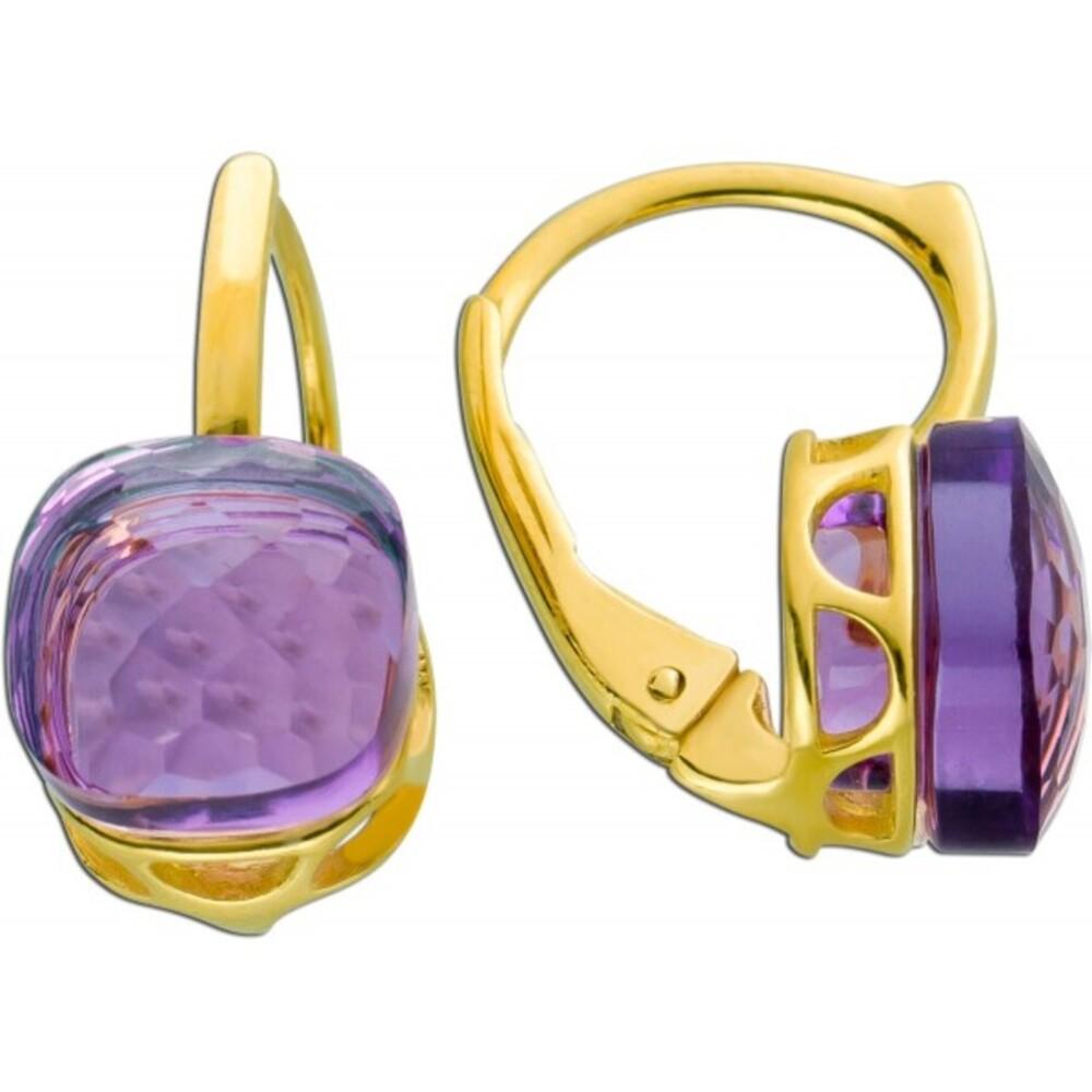 Edelstein Ohrringe Brisur Ohrhänger Gelbgold375/-facettierter Amethyst 16x8mm