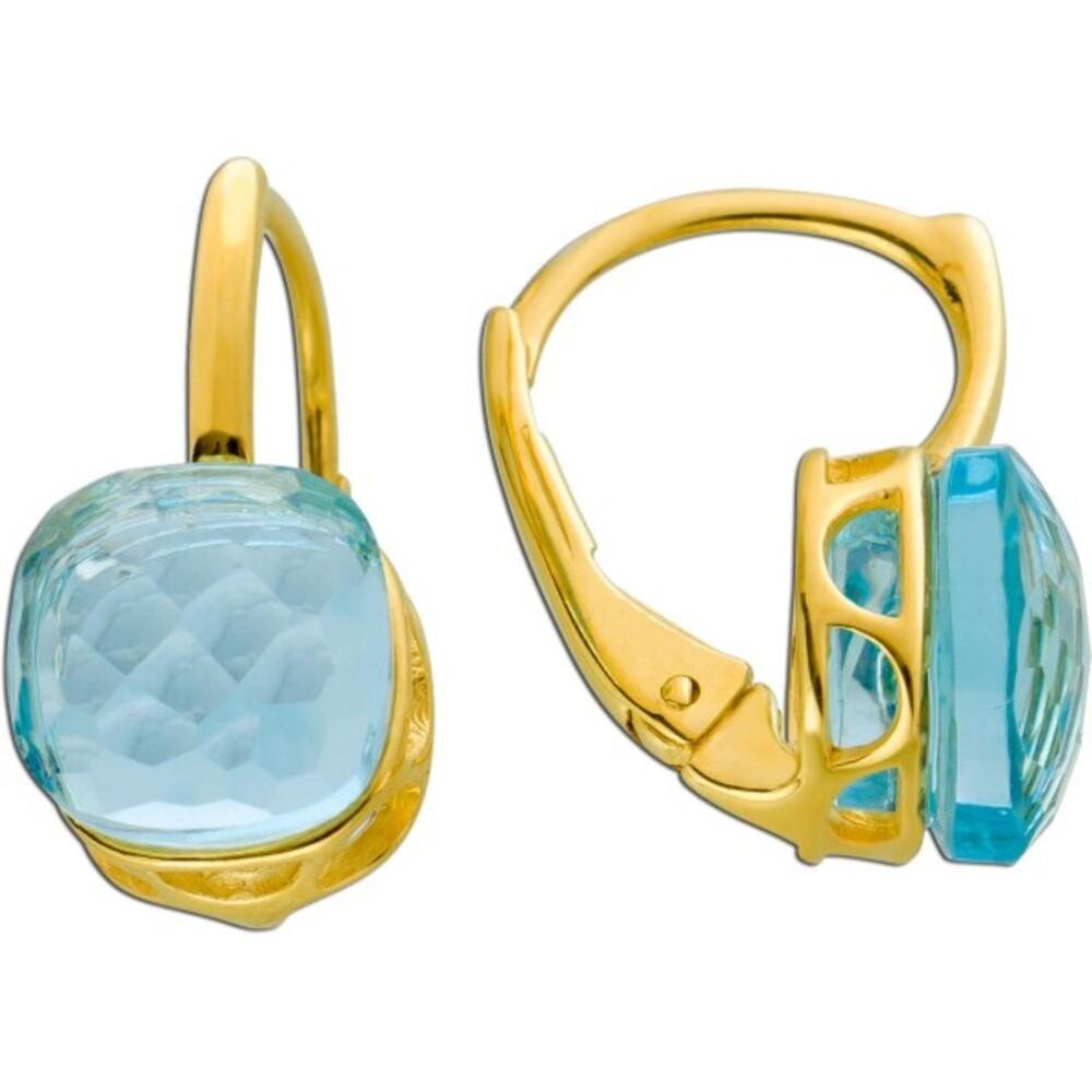 Edelstein Ohrringe Brisur Ohrhänger Gelbgold 375/- facettierter Blautopas 16x8mm