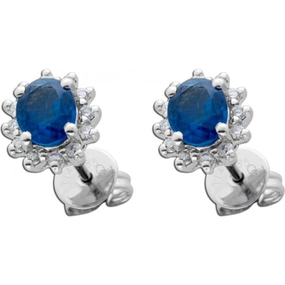 Diamant Saphir Ohrstecker Weissgold 585 Lady Di Look Blaue Saphire 0,80ct weisse Brillanten zus. 0,14ct TW/SI  8x7mm