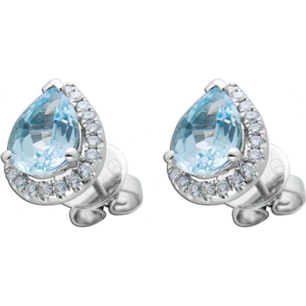 Blaue Edelstein Ohrstecker Ohrringe Weissgold 750 tropfenförmige Blautopase 2,06ct weisse Diamanten Brillanten zus. 0,30ct TW/SI