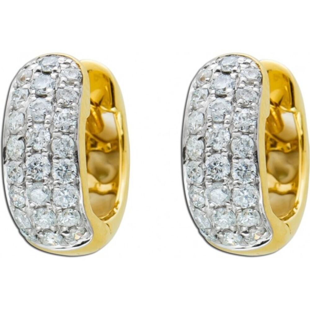 Diamant Ohrringe Klappcreolen Gelbgold 585 Brillanten zus.0,44ct TW/P1 11x4,6mm