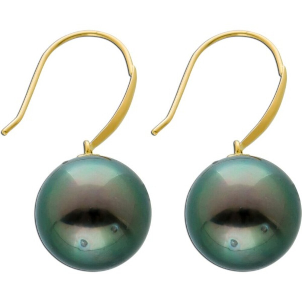 Perlen Ohrringe Ohrhänger Gelb Gold 585 Tahitiperlen 9-9,5mm anthrazitfarben Damen