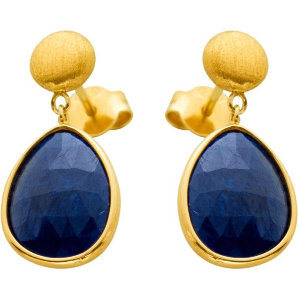Ohrstecker Gelbgold 585 14 Karat 2 blaue Saphir Edelsteine beweglich Edelsteinohrstecker