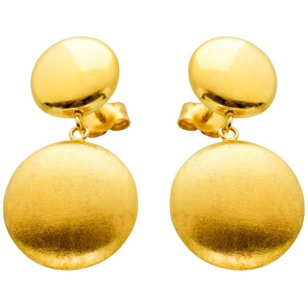 Kugel Ohrstecker Gelbgold 585 14 Karat beweglich poliert Diamantiert Goldohrstecker Designer