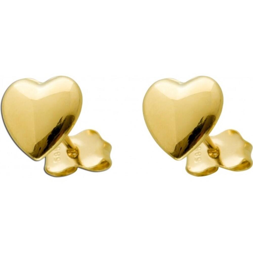 Herzohrstecker Goldohrstecker Gelbgold 585 Herz 8x8mm