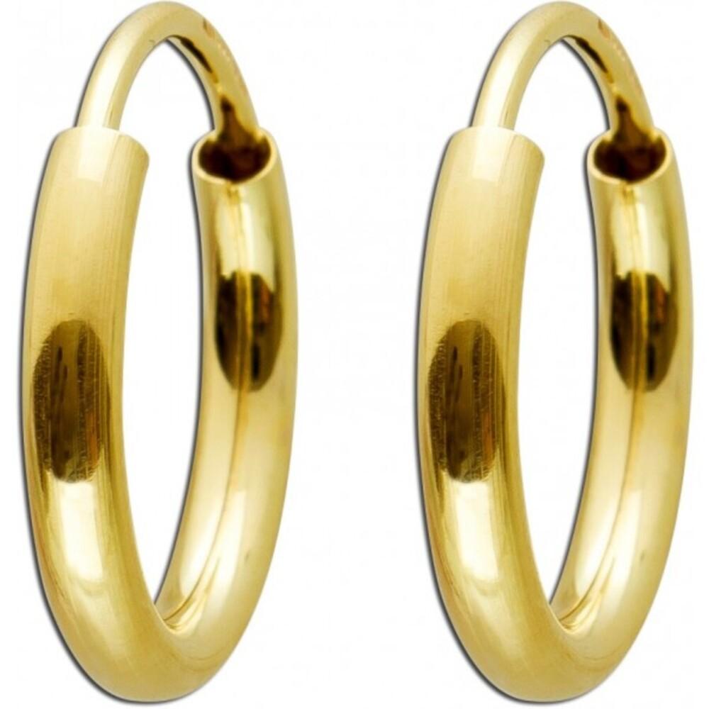 Creolen Gelbgold poliert 585 14 Karat flexibler Verschluss Durchmesser 13 mm