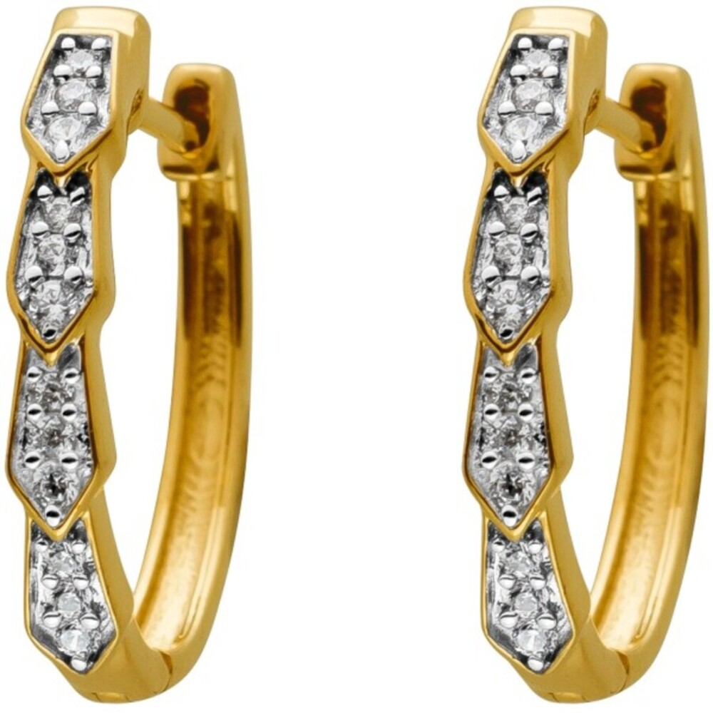 Diamant Creolen Gelbgold 14 Karat 24 Diamanten 0,10ct W/SI