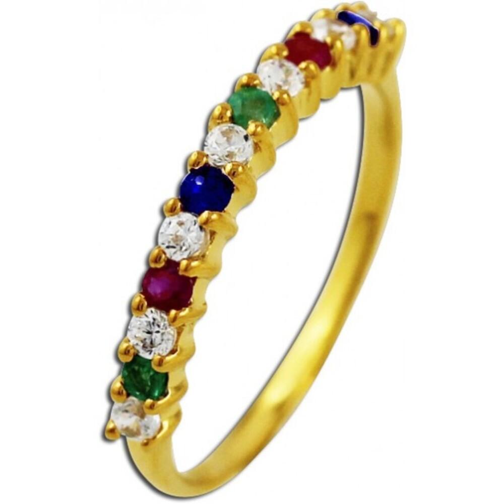 Memoire Ring Gelbgold 333 Zirkonia roter Rubin blauer Saphir grüner Smaragd Edelsteinschmuck_01