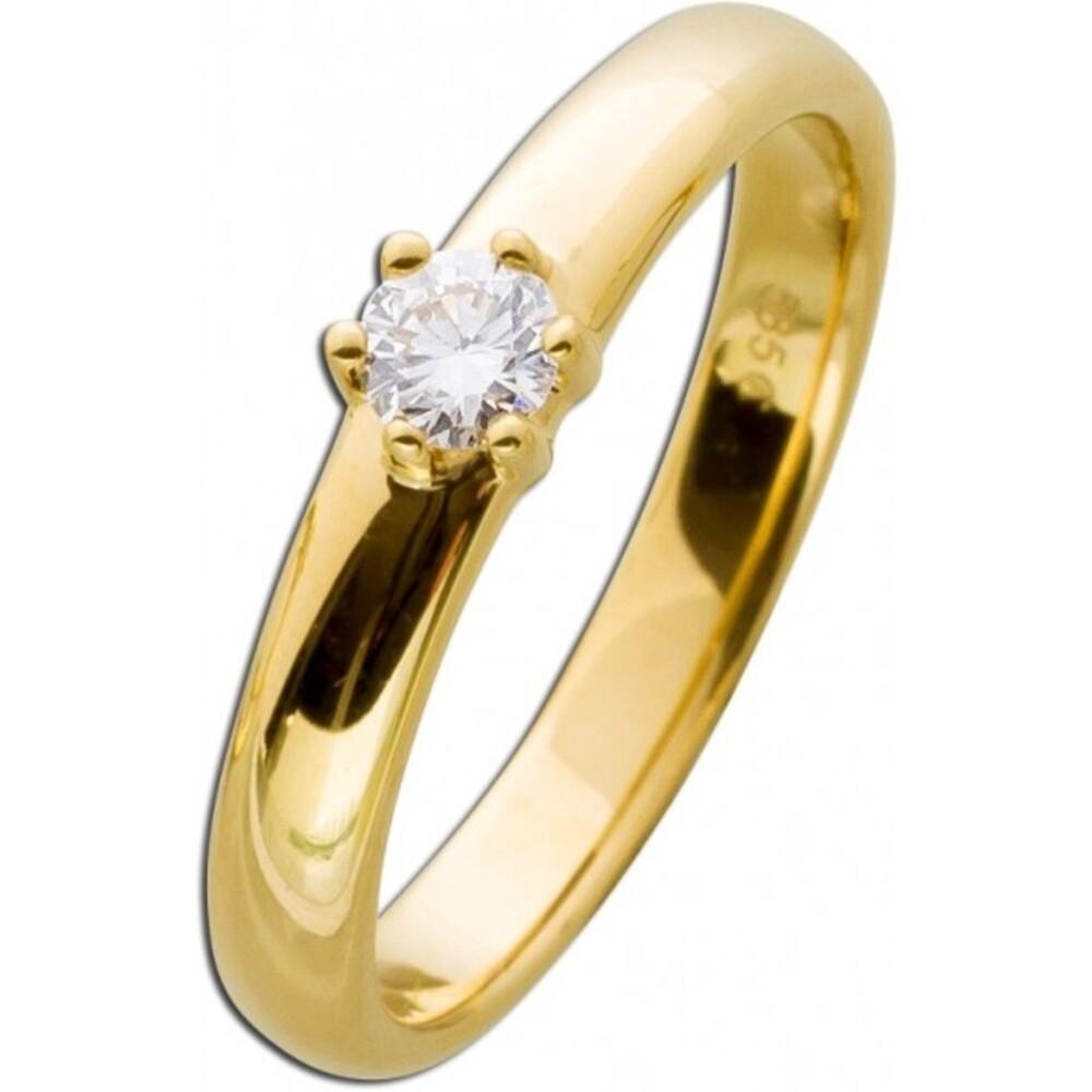 Diamantring Verlobungsring Diamant Brillant  Solitär Gelbgold 585 0,20ct TW / VSI Krappenfassung_02
