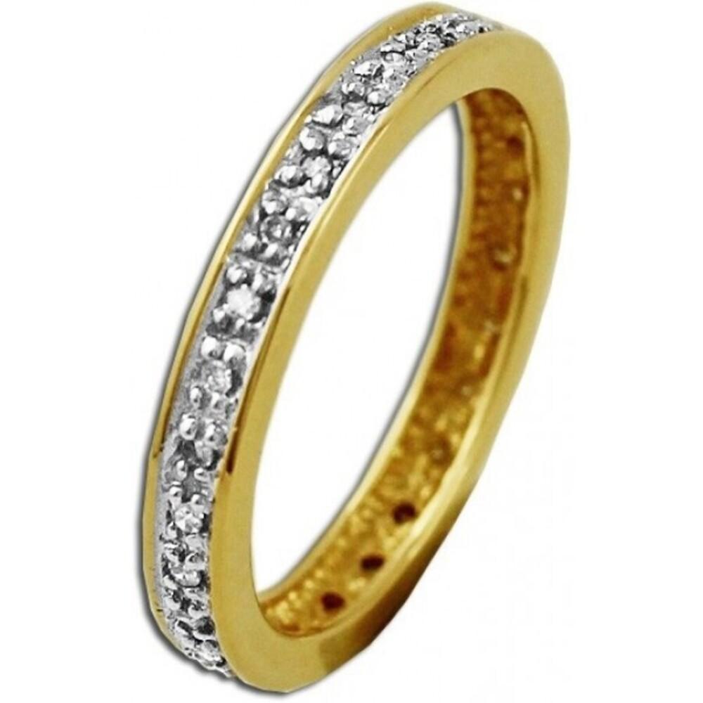 Memoire Ring Gelbgold 585 Diamant Brillant  0,16ct W/P