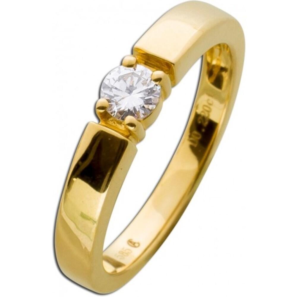 Verlobungsring Vorsteckring Diamant Brillant Gelbgold 585 Solitär 0,25ct TW / Lupenrein _02