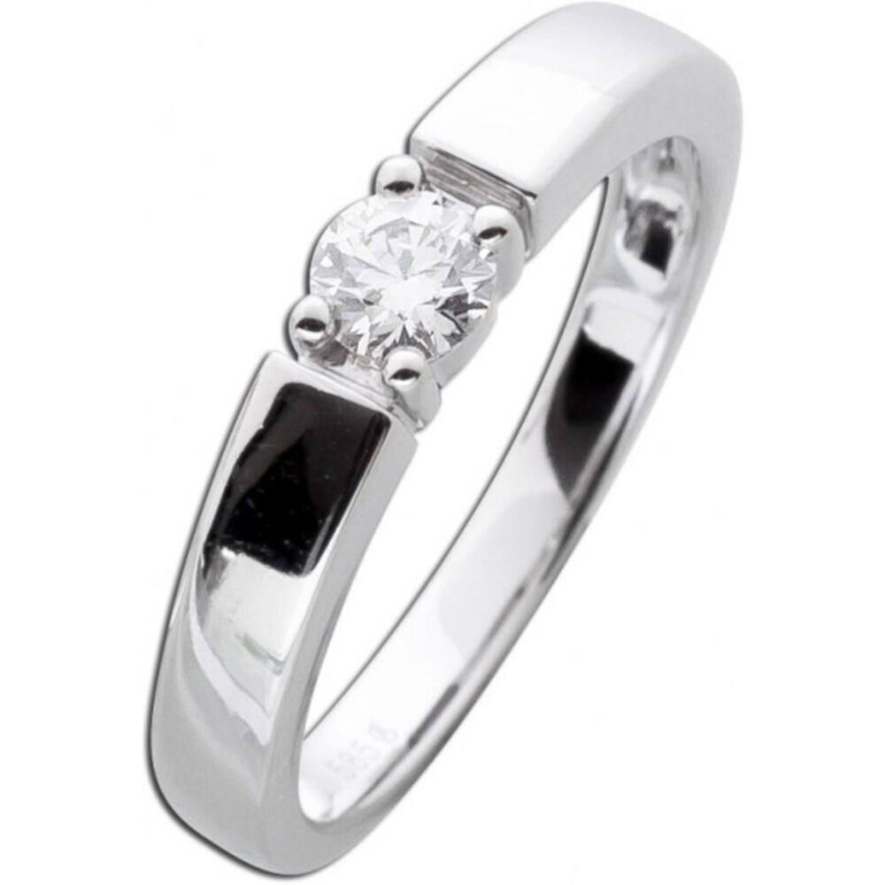 Diamant Brillant Solitär Verlobungs Ring Weißgold 585 Krappenfassung 0,25ct TW / Lupenrein _01