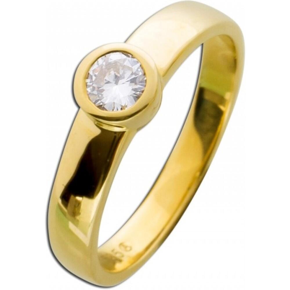 Diamantring Verlobungsring Gelbgold 585 Zargenfassung 1 Brillant 0,35ct TW / Lupenrein