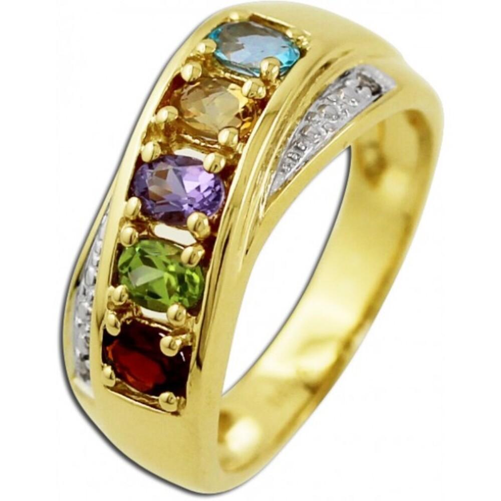 Ring Gelbgold 585/- bunten Edelsteinen 2 weißen Diamanten 0,01ct W/P_01