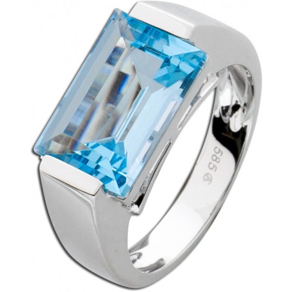 Ring Weißgold 585 hellblauer Blautopas 1