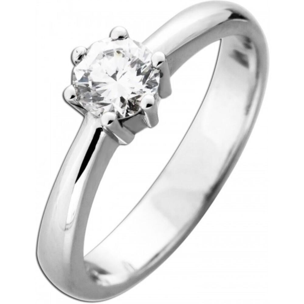Funkelnder Diamant Brillant Ring Verlobungsring Solitär Weißgold 585 Brillant 0,65ct TW / Lupenrein _01