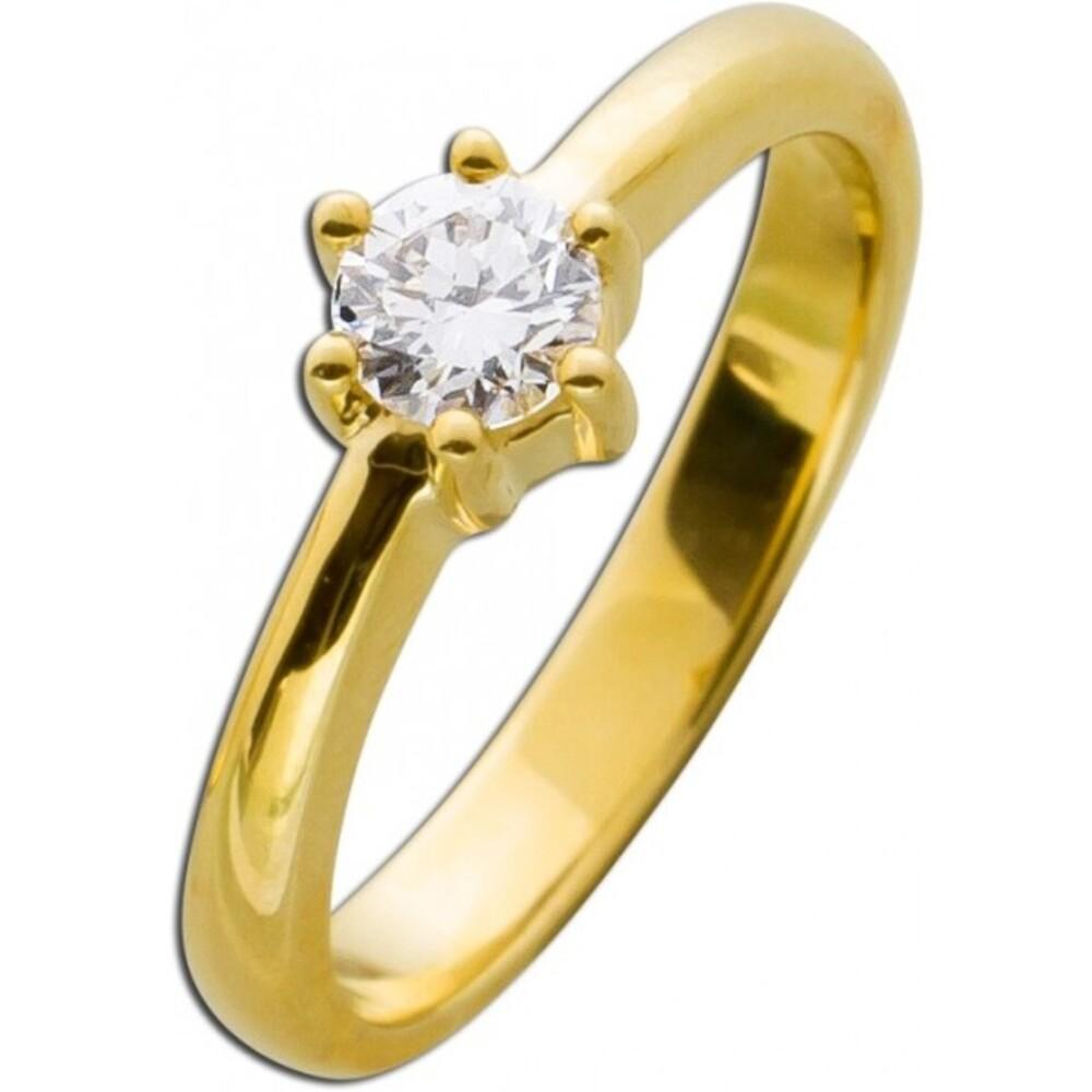 Diamant Brillant Ring Verlobungsring Gelbgold 585 0,45ct TW / Lupenrein Krappenfassung _01