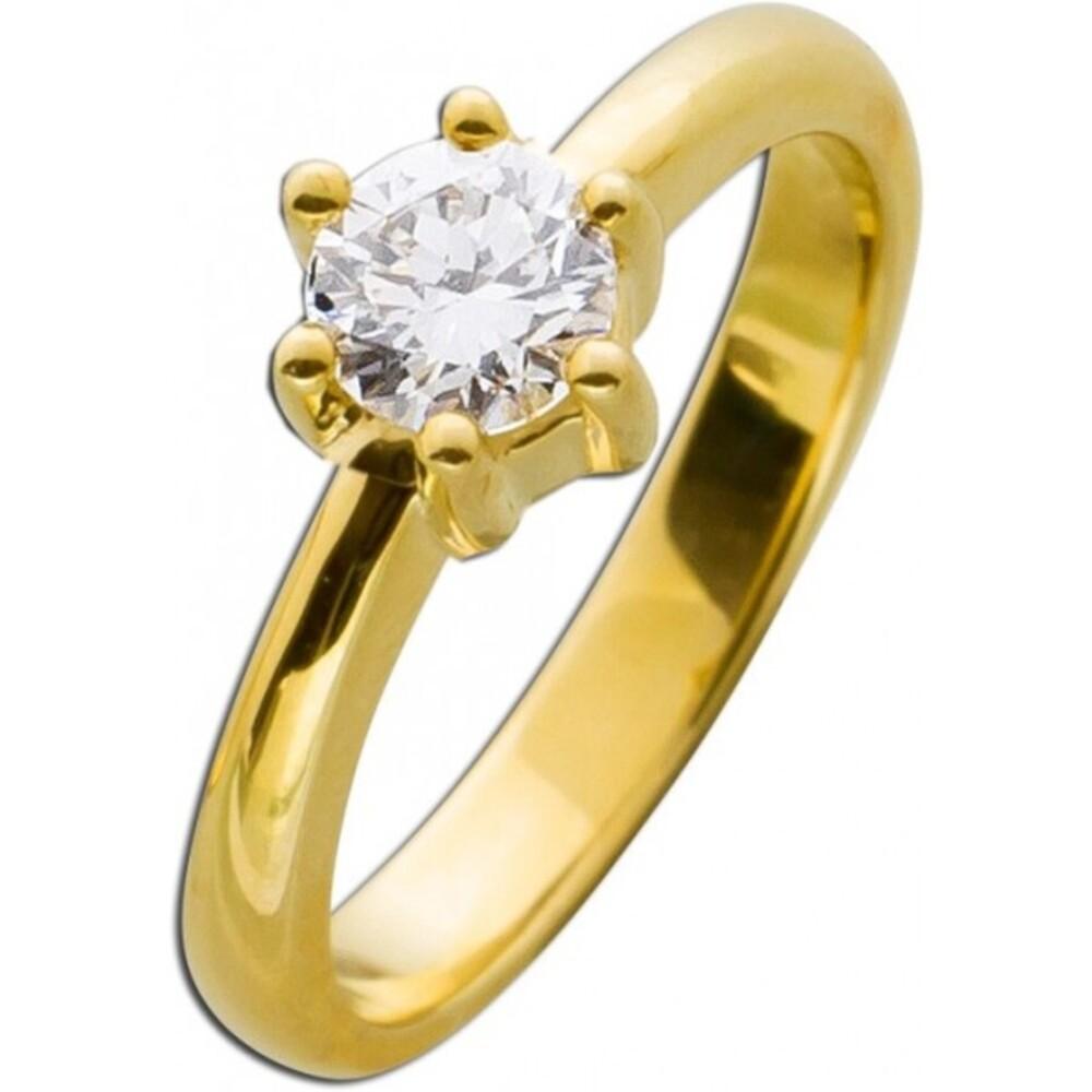 Solitär Ring Vorsteckring Brillant Ring Diamant Gelbgold 585 0,65ct TW / IF feines Weiss / lupenrein _01