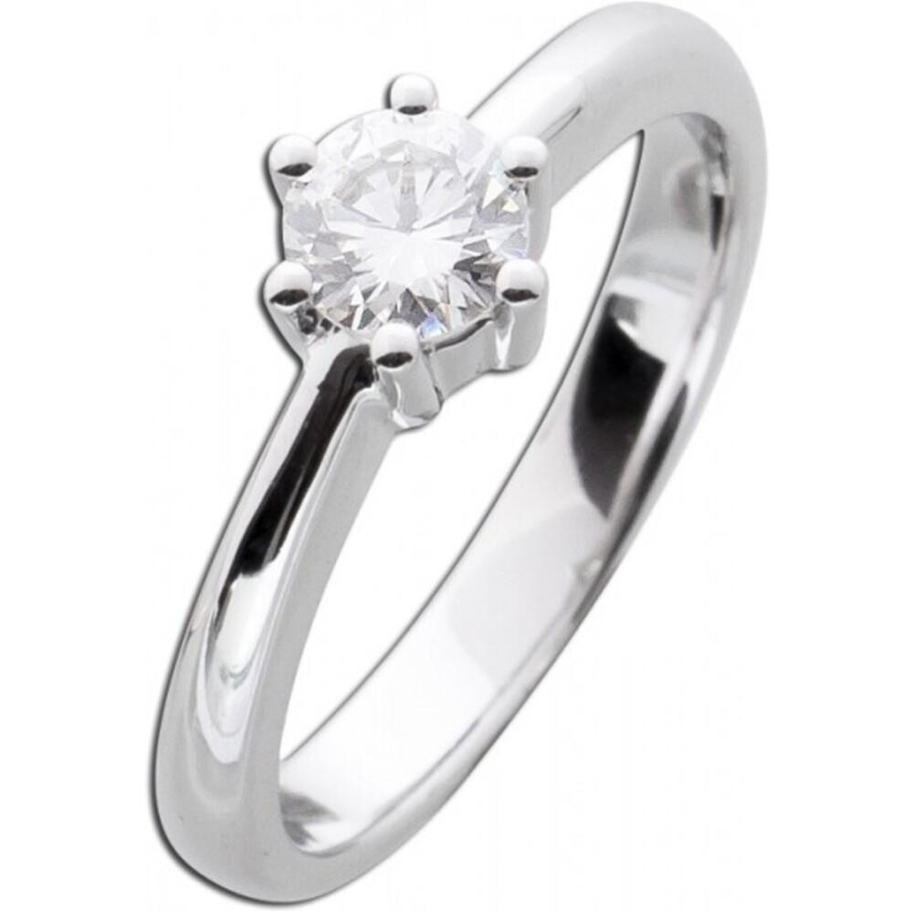 Verlobungsring Solitär Diamant Brillant Ring Weißgold 585 0,53ct TW / Lupenrein _01