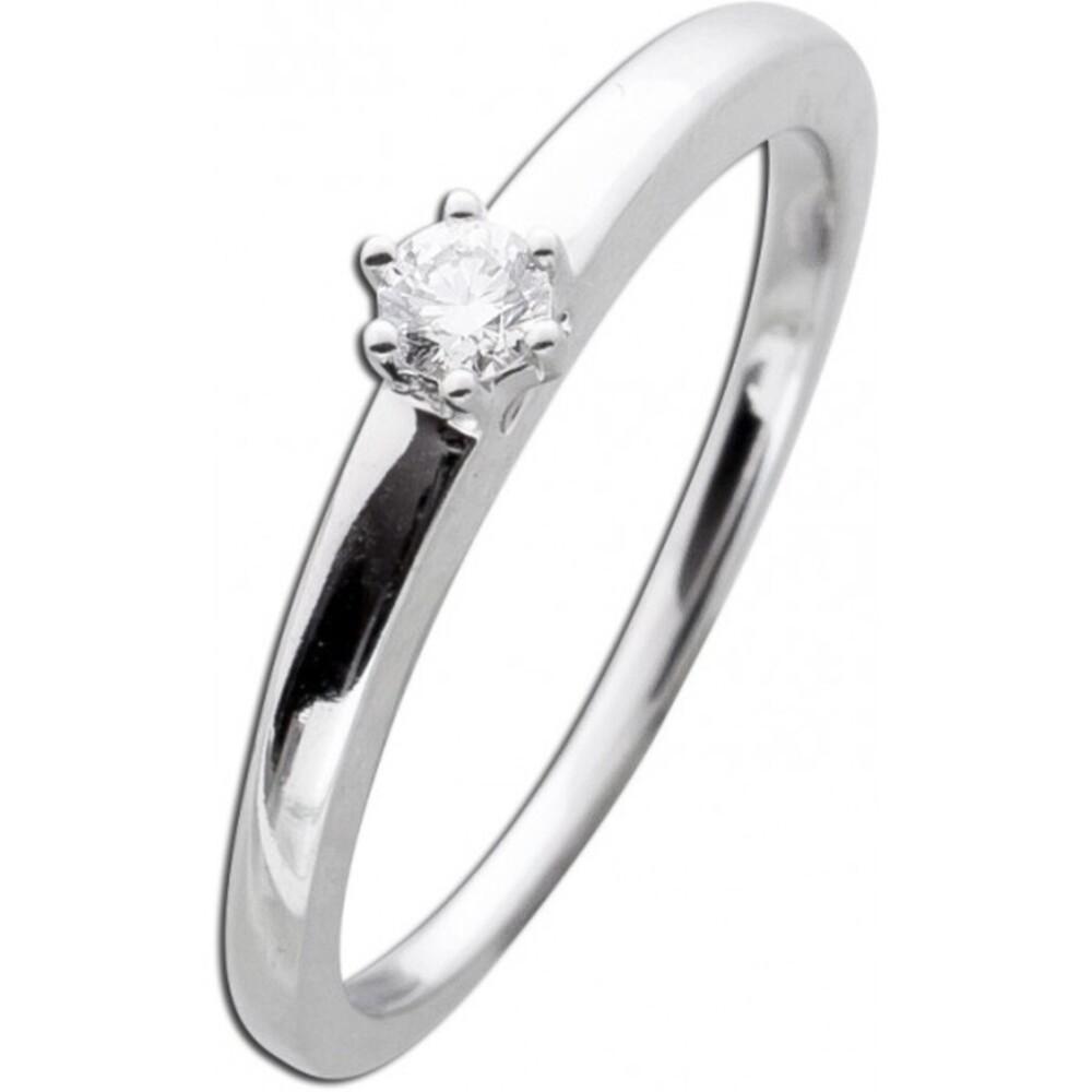 Brillantring Diamantring Solitaer Weißgold 585  14K 0,10ct TW / Lupenrein 2