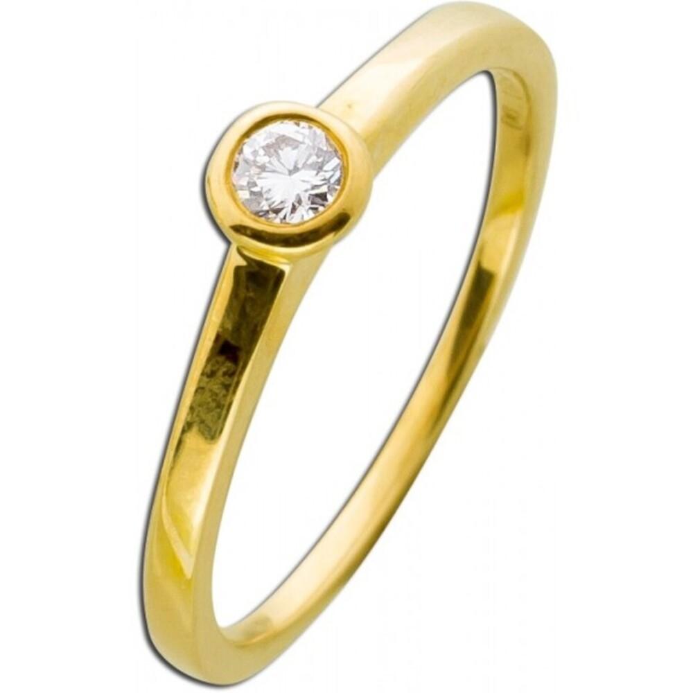 Verlobungsring Gelbgold 585 Brillant Diamant 0,10ct TW / Lupenrein Zargenfassung _01