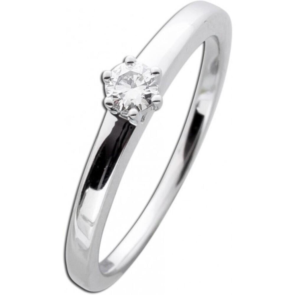 Diamantring Verlobungsring Weißgold 585 Brillant 0,15ct TW / Lupenrein Krappenfassung _01