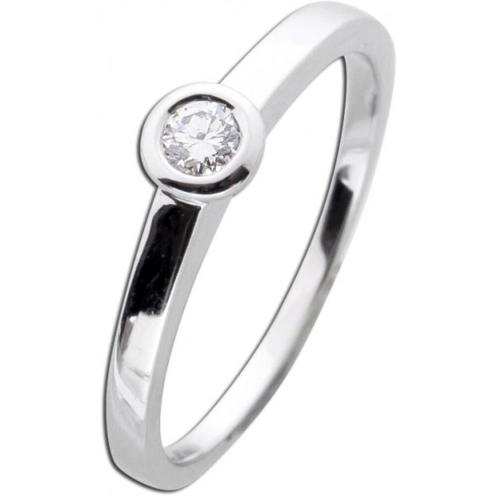 Vorsteckring Diamant Brillantring Zargenfassung Weißgold 585 0,15ct TW Lupenrein _01