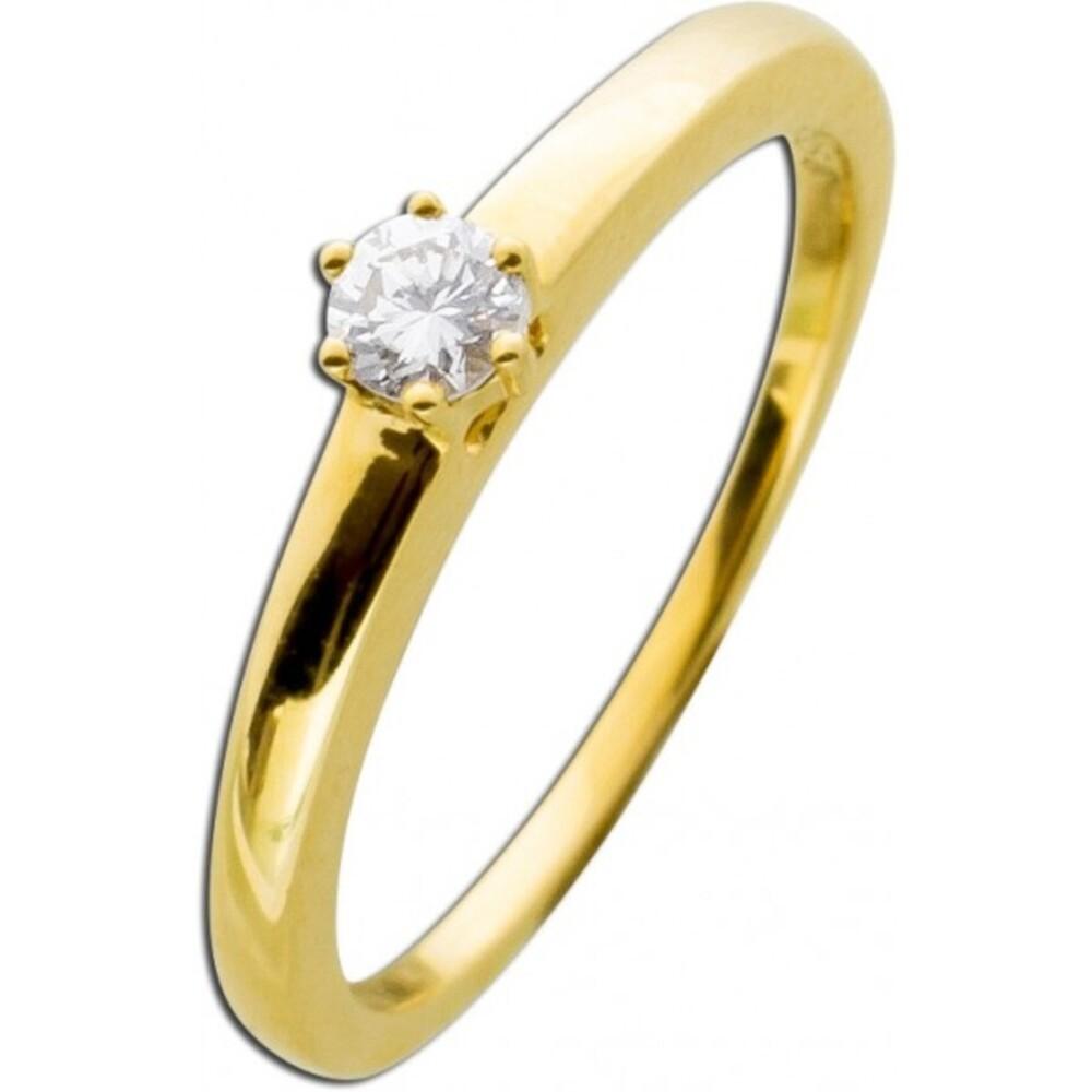 Diamantring Brillantring Verlobungsring Gelbgold 585 Solitärring 0,15ct TW / Lupenrein Krappenfassung _01