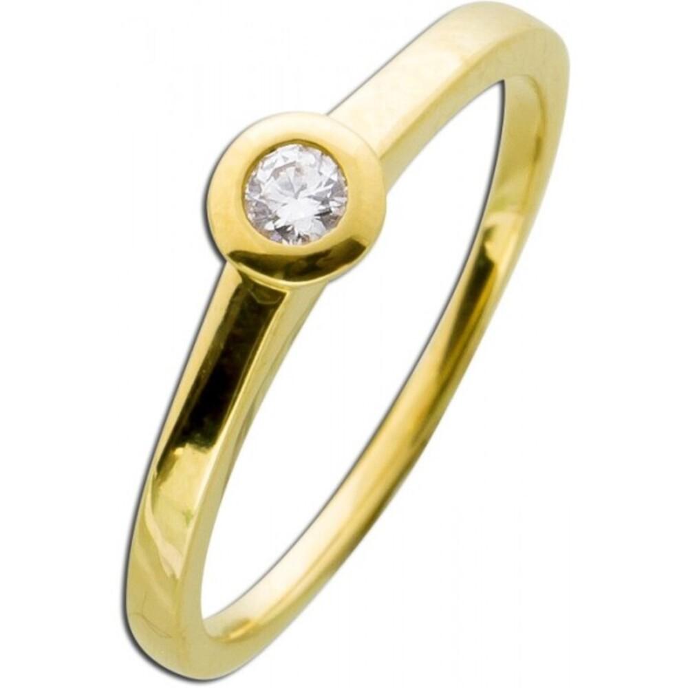 Brillant Diamant Verlobungsring Gelbgold 585  0,15ct TW / Lupenrein Zargenfassung _01