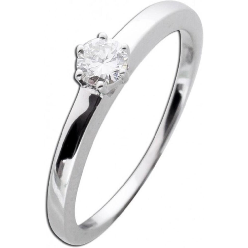 Solitär Goldring Brillant Diamant Verlobungsring Weißgold 585  0,22ct TW / Lupenring Krappenfassung _01