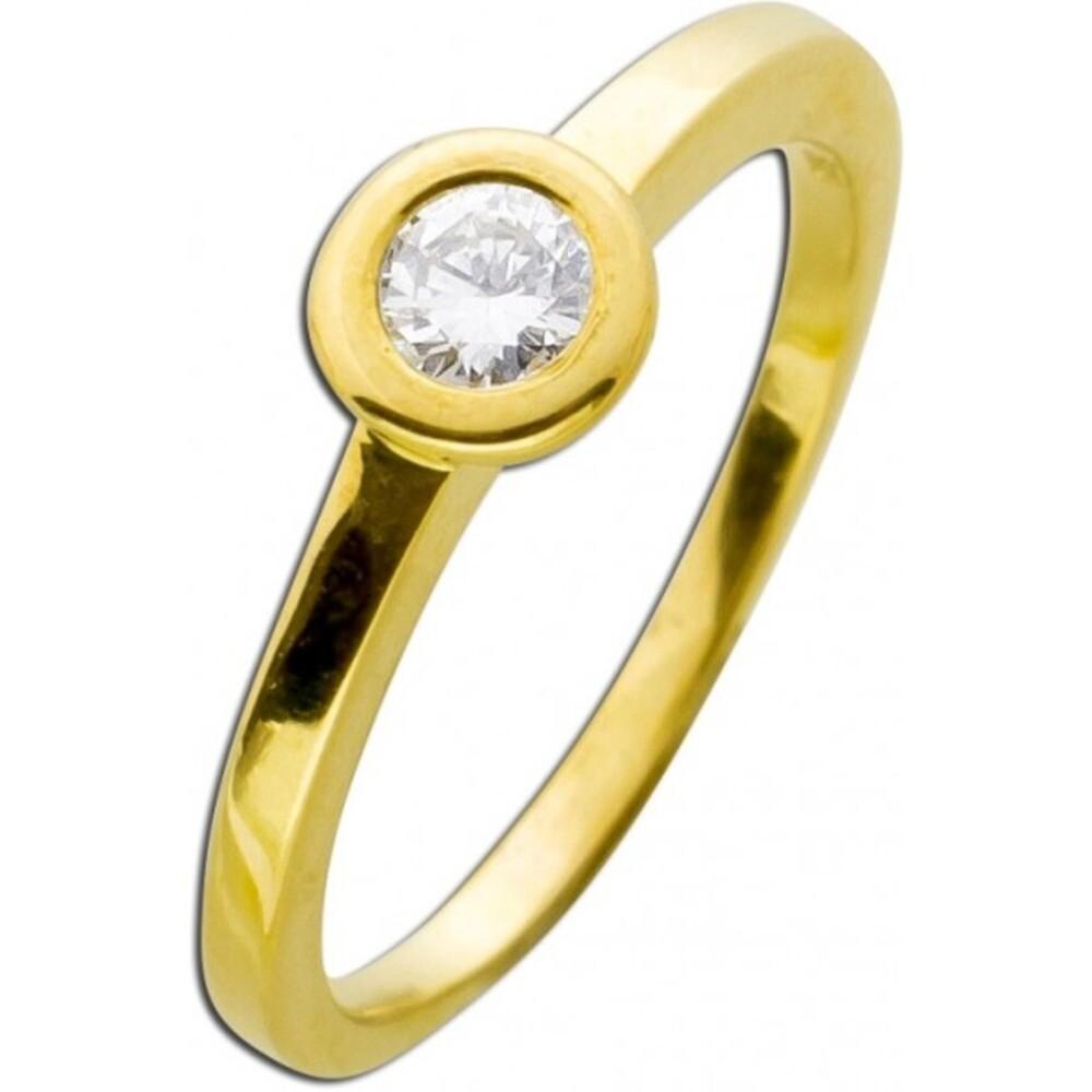 Vorsteckring Diamant Brillant Gelbgold 585 0,22ct TW / Lupenrein Zargenfassung_01