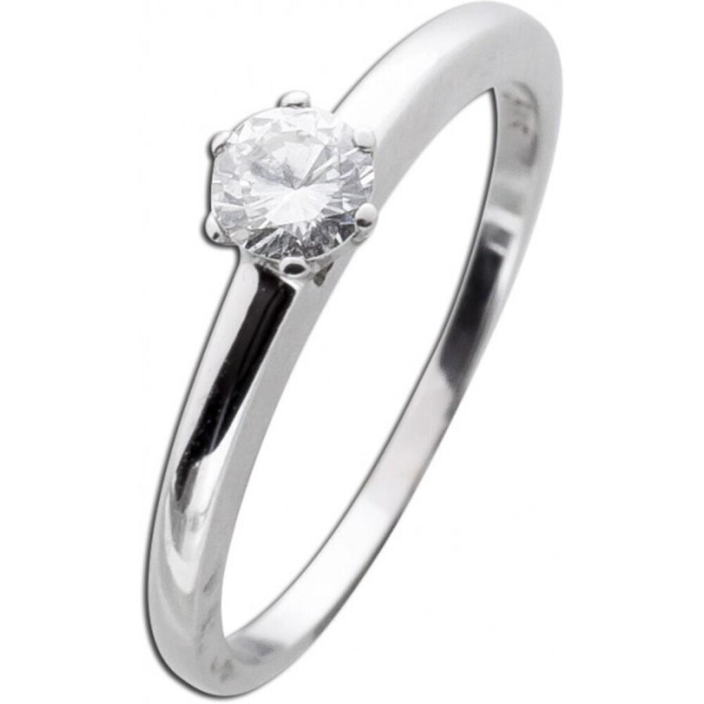 Weißgoldring Diamant Brillant Solitär Verlobungsring 585 0,30ct TW / Lupenrein Krappenfassung_01