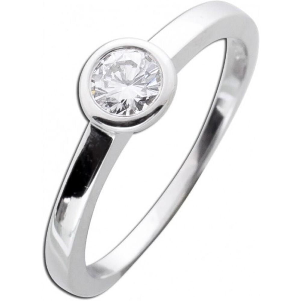 Diamantring Verlobungsring Weißgold 585 Brillant Solitär 0,30ct TW / Lupenrein Zargenfassung _01