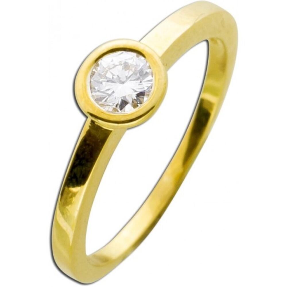 Solitär Goldring Brillant Diamant Gelbgold 585/- Brillant 0,30ct TW / Lupenrein Verlobungsring Zargenfassung _01