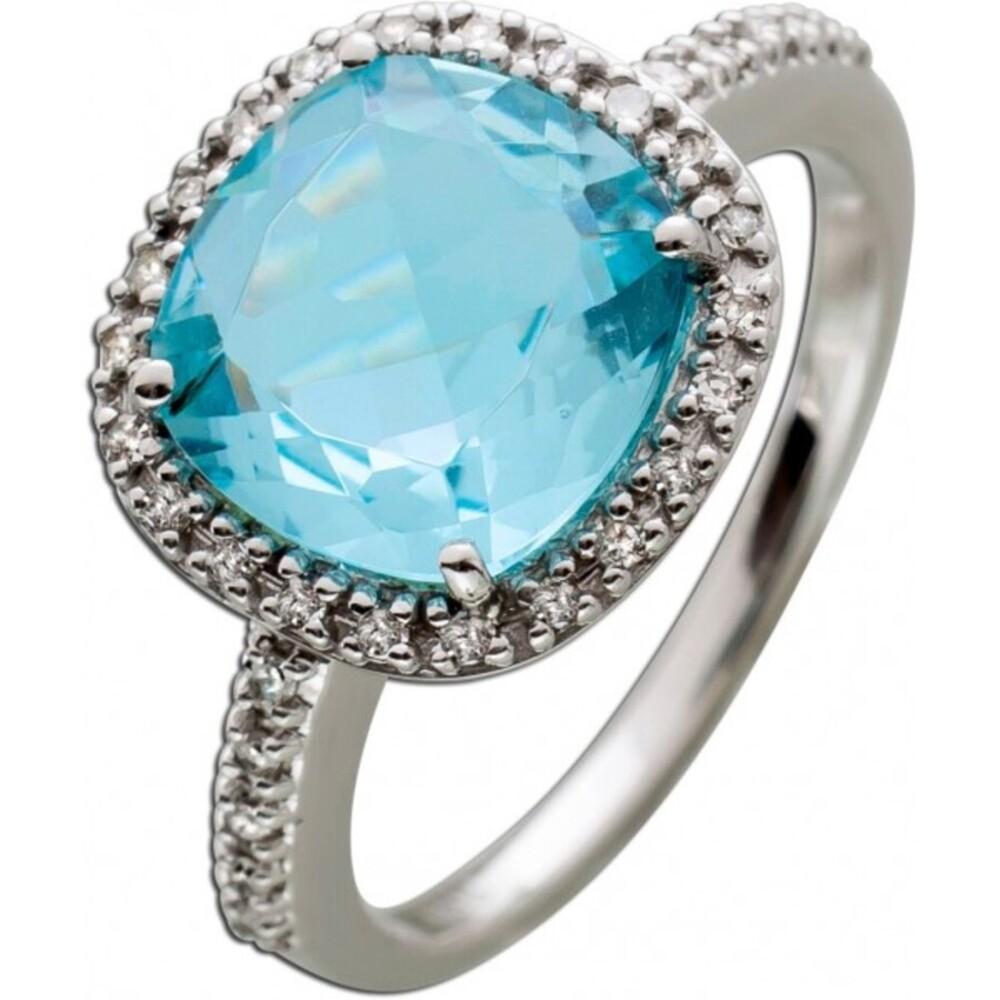 Ring Weißgold 333/- Blautopas 32 weißen Diamaten 0,19ct 8/8 W/P_1